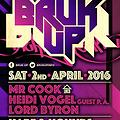 Bruk Up 2nd April Mr Cook Lord Byron & Heidi Vogel